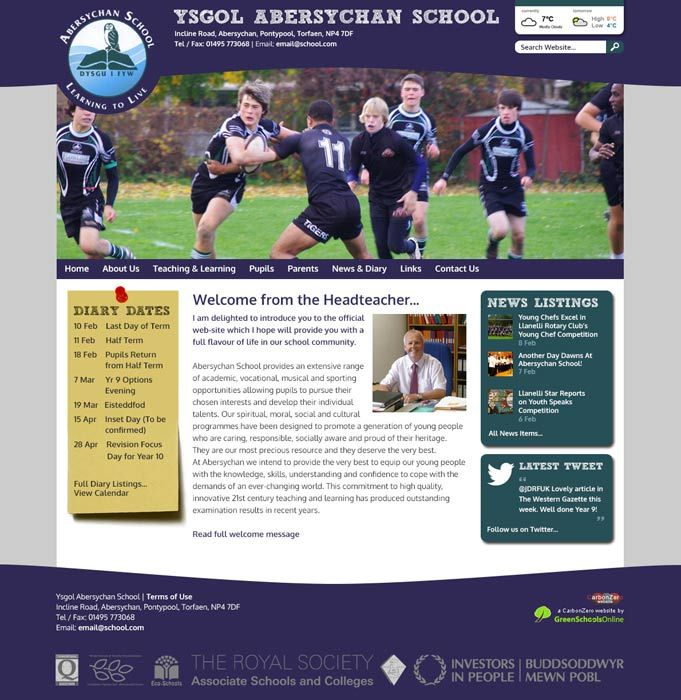 Enlarge Abersychan School website design
