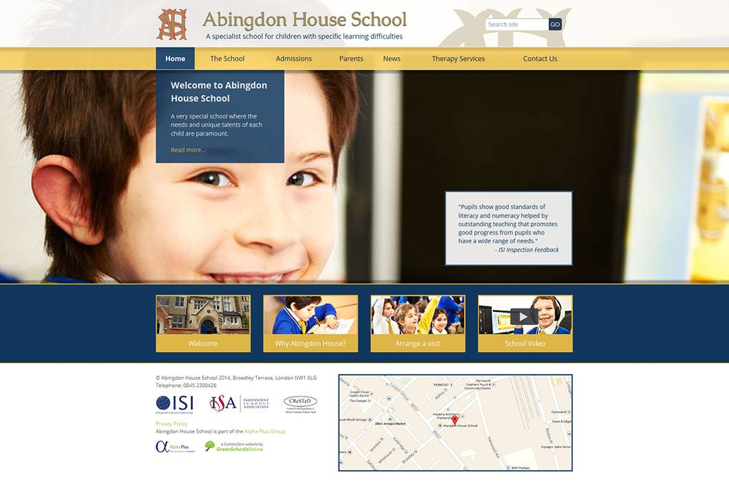 Enlarge Abingdon House School website design