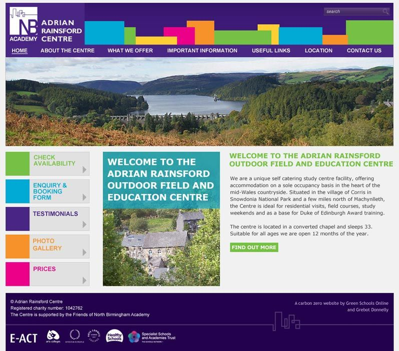 Enlarge Adrian Rainsford Centre website design