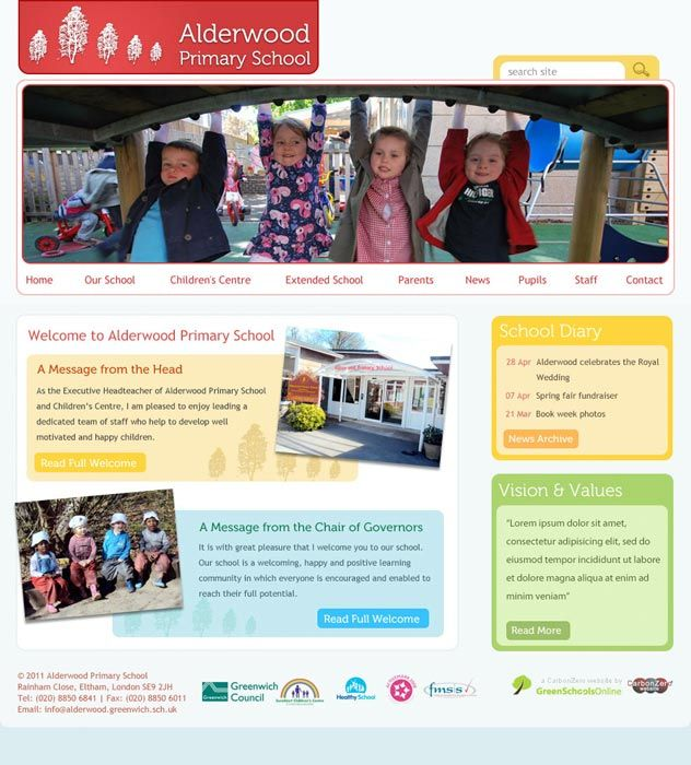 Enlarge Alderwood Primary School website design
