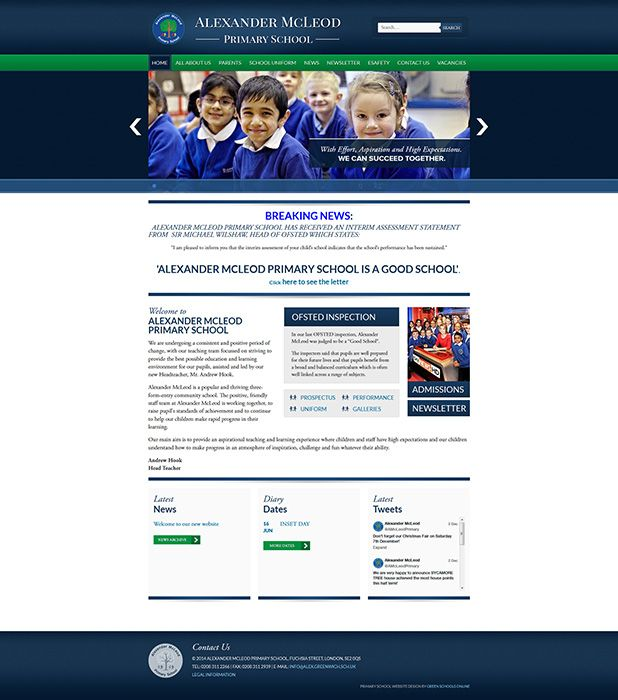 Enlarge Alexander McLeod Primary School website design