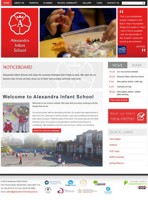 Enlarge Alexandra Infant School website design