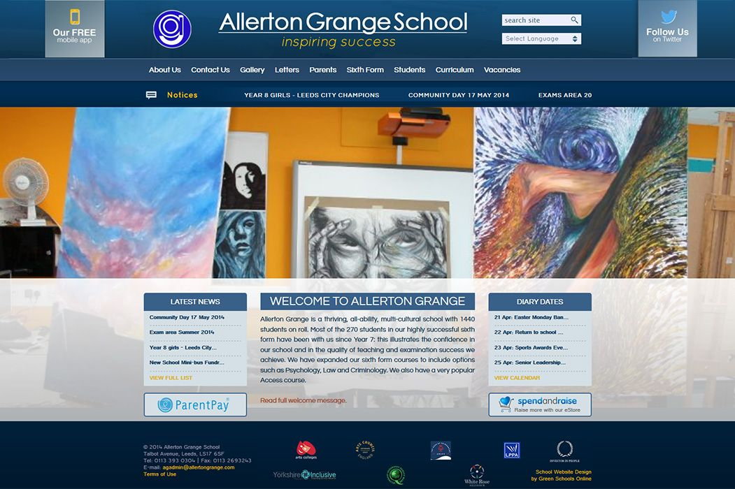 Enlarge Allerton Grange High School website design