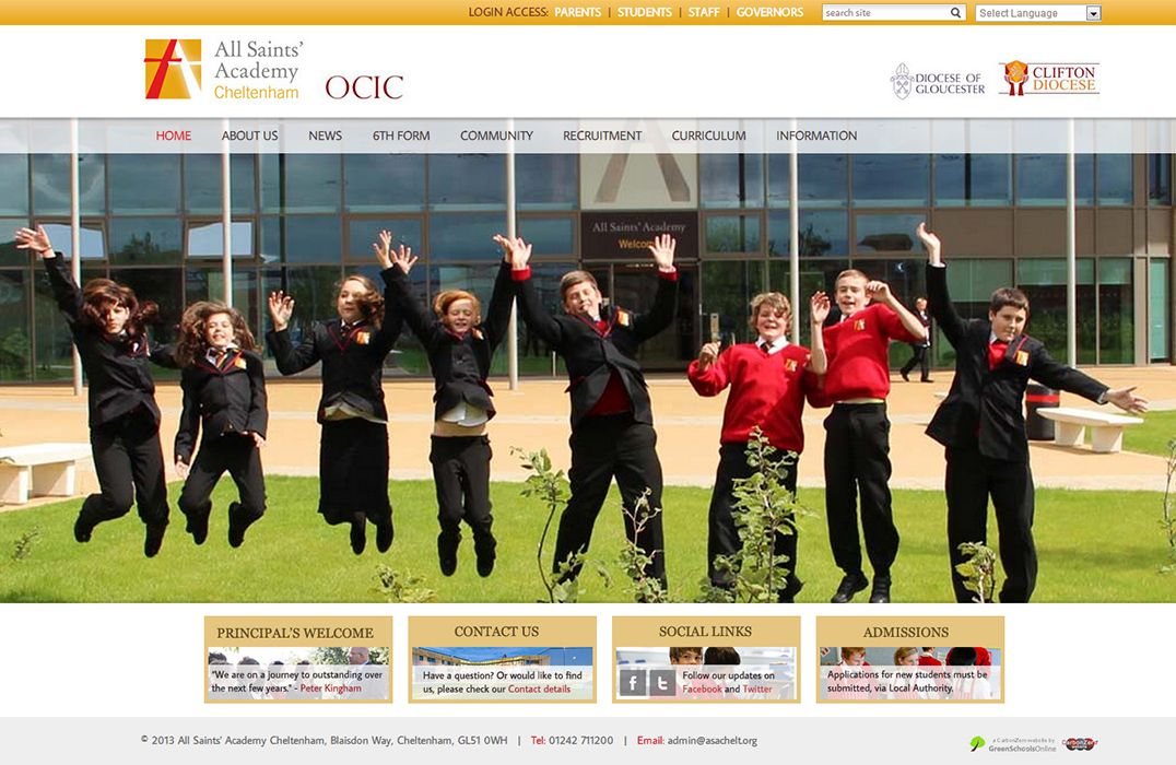 Enlarge All Saints Academy Cheltenham website design