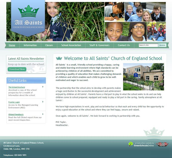 Enlarge All Saints Primary Barnet website design