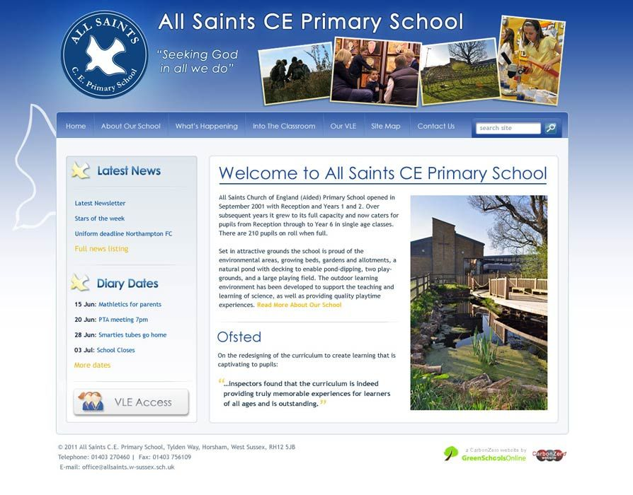 Enlarge All Saints Primary - Horsham website design