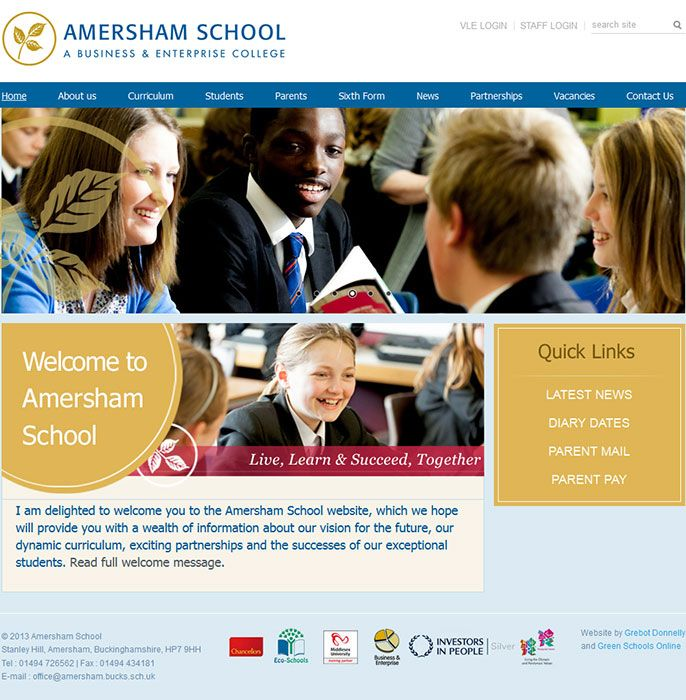 Enlarge Amersham School website design