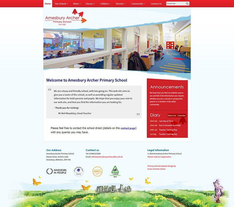 Enlarge Amesbury Archer Primary School website design