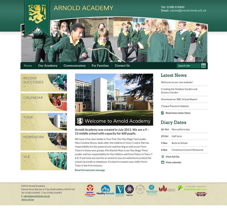 Enlarge Arnold Academy website design