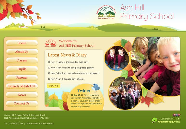Enlarge Ash Hill Primary School website design