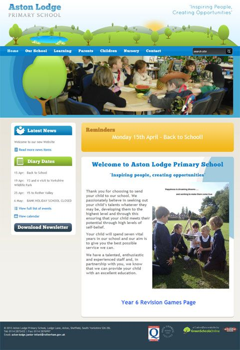 Enlarge Aston Lodge Primary School website design