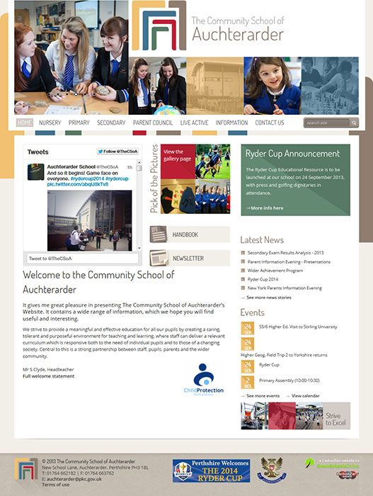 Enlarge Auchterarder Community School website design