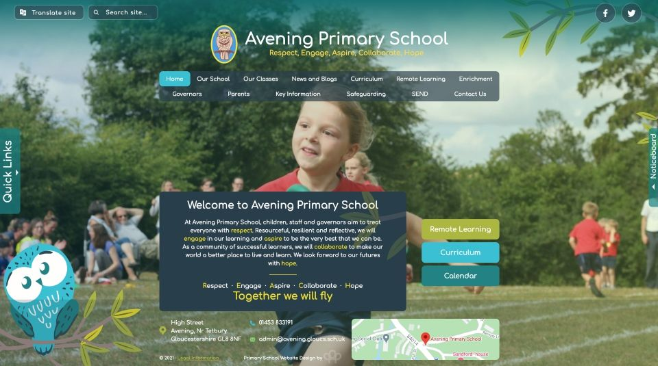 Enlarge Avening Primary School website design
