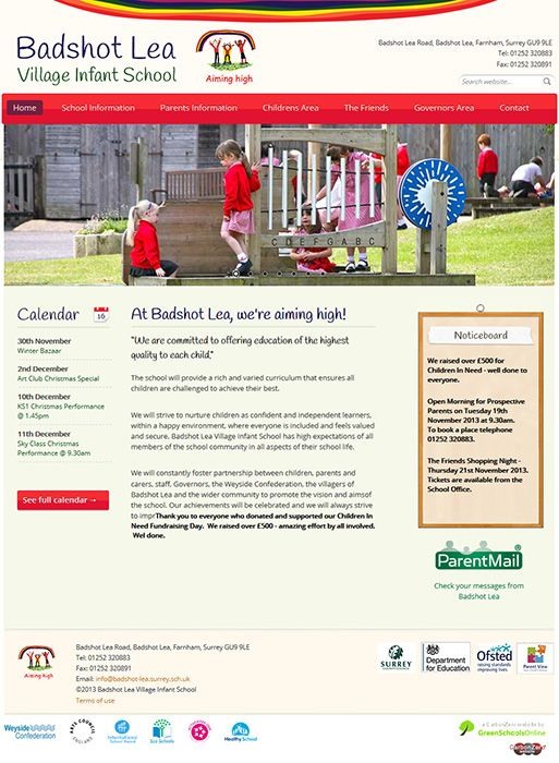 Enlarge Badshot Lea Village Infant School website design