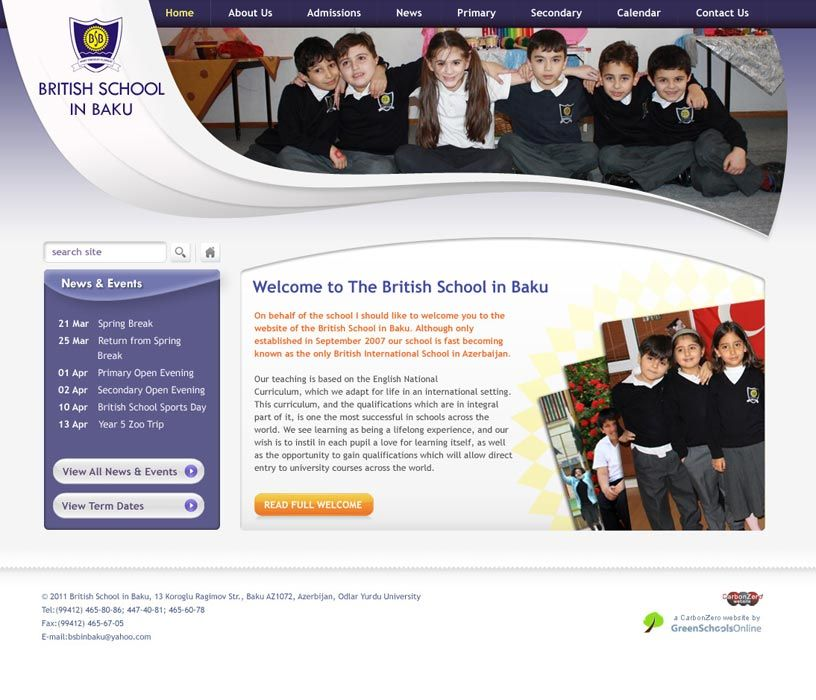Enlarge British School in Baku (English) website design