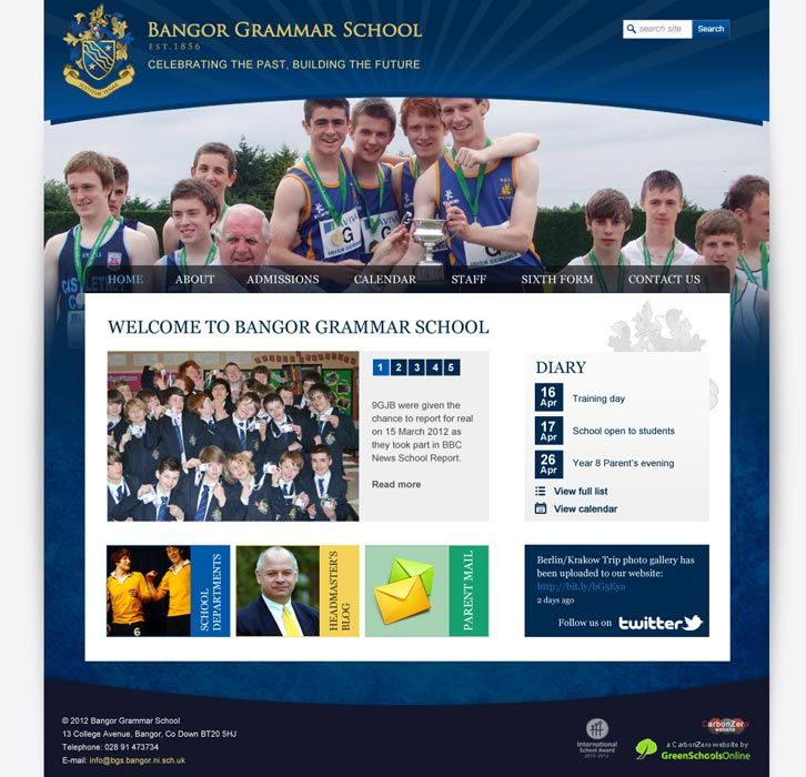 Enlarge Bangor Grammar School website design