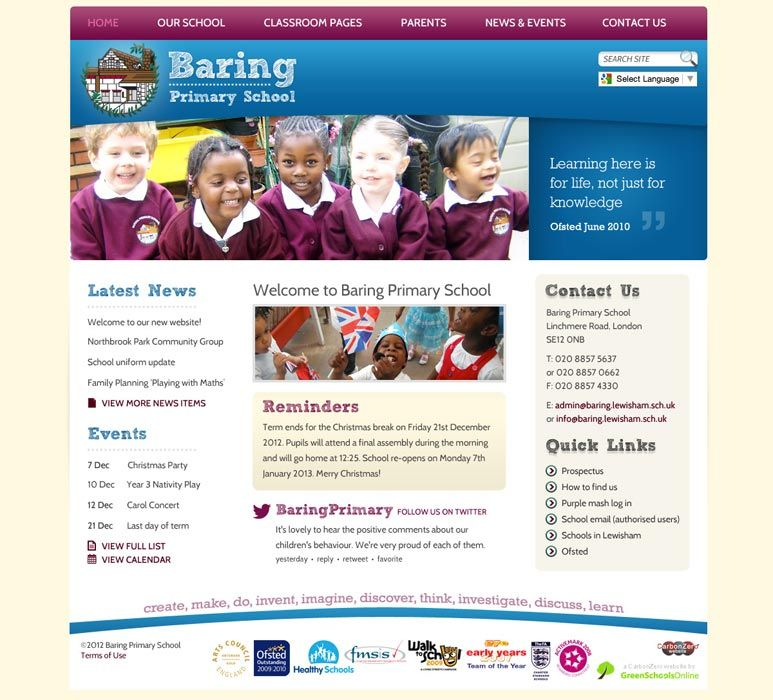 Enlarge Baring Primary School website design