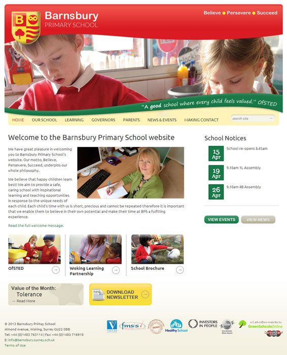 Enlarge Barnsbury Primary School website design