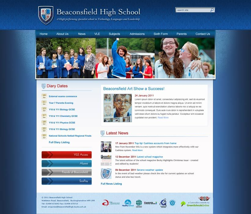 Enlarge Beaconsfield High School website design