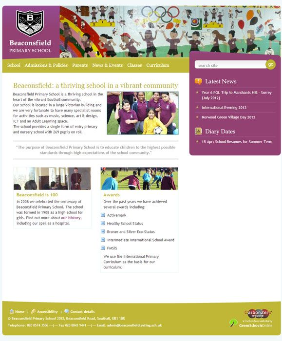 Enlarge Beaconsfield Primary website design