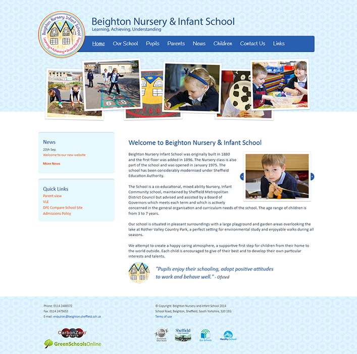 Enlarge Beighton Nursery and Infant School website design