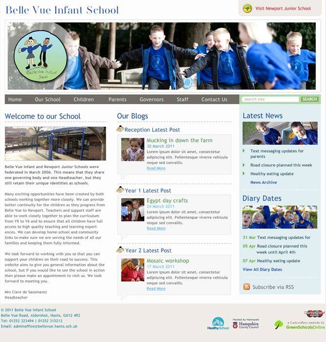 Enlarge Belle Vue Infant School website design