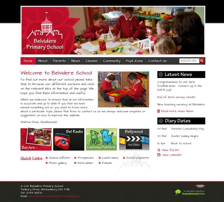 Enlarge Belvidere Primary School website design