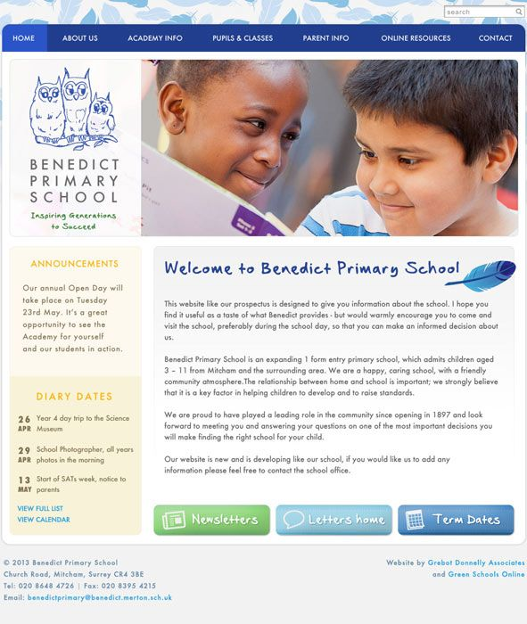 Enlarge Benedict Primary School website design