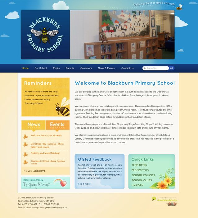 Enlarge Blackburn Primary School website design
