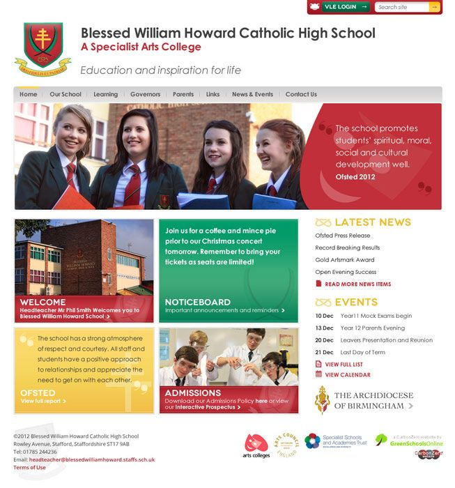 Enlarge Blessed William Howard website design