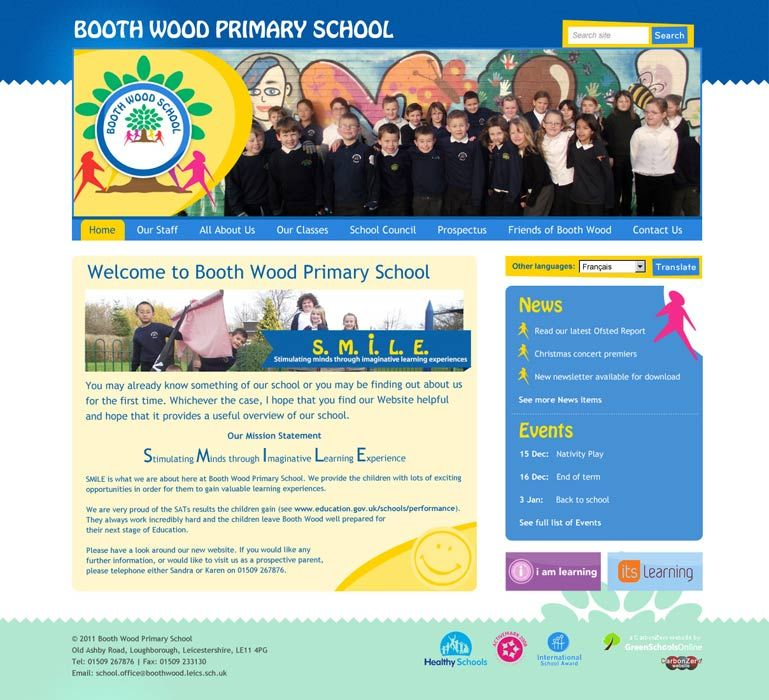 Enlarge Booth Wood Primary School website design