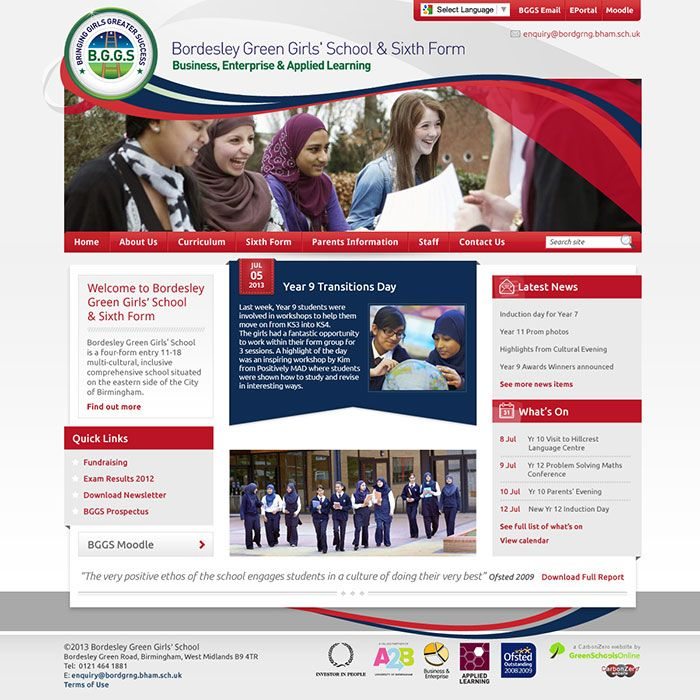 Enlarge Bordesley Green Girls' School & Sixth Form website design
