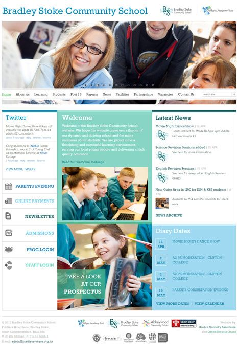 Enlarge Bradley Stoke Community School website design