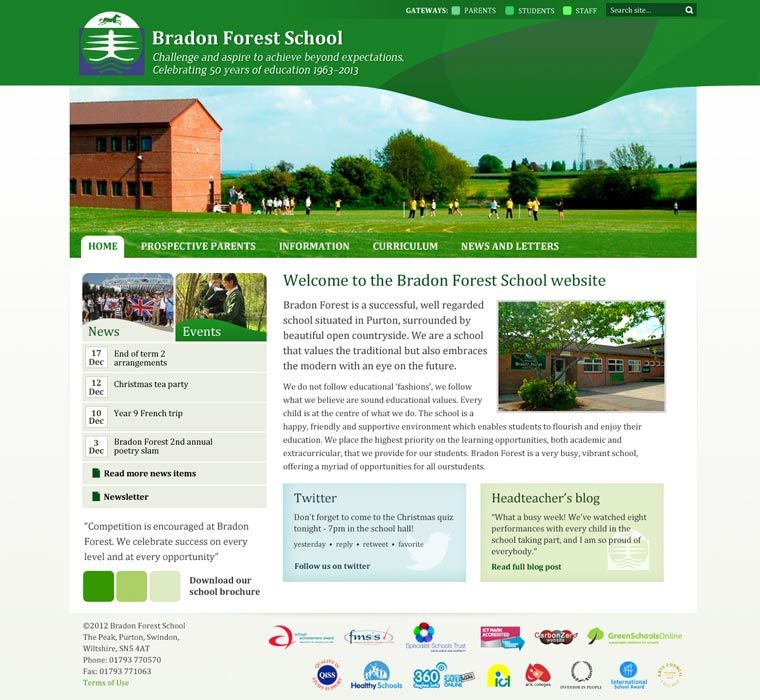 Enlarge Bradon Forest School website design