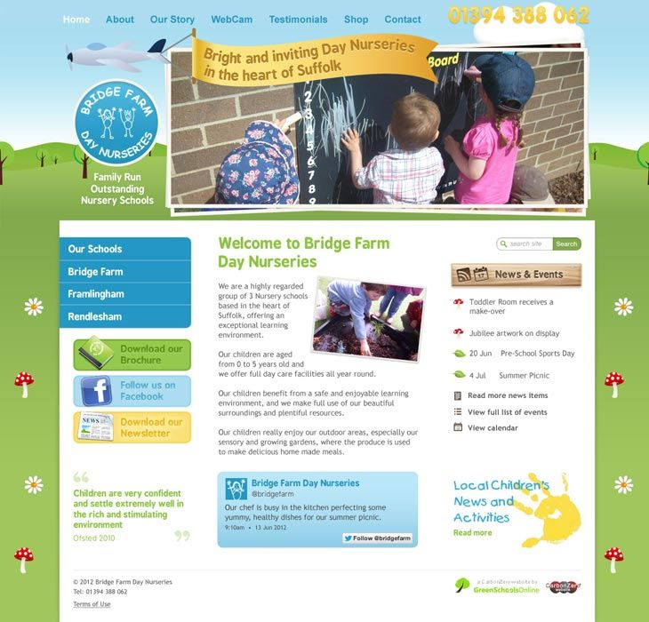 Enlarge Bridge Farm Day Nurseries website design