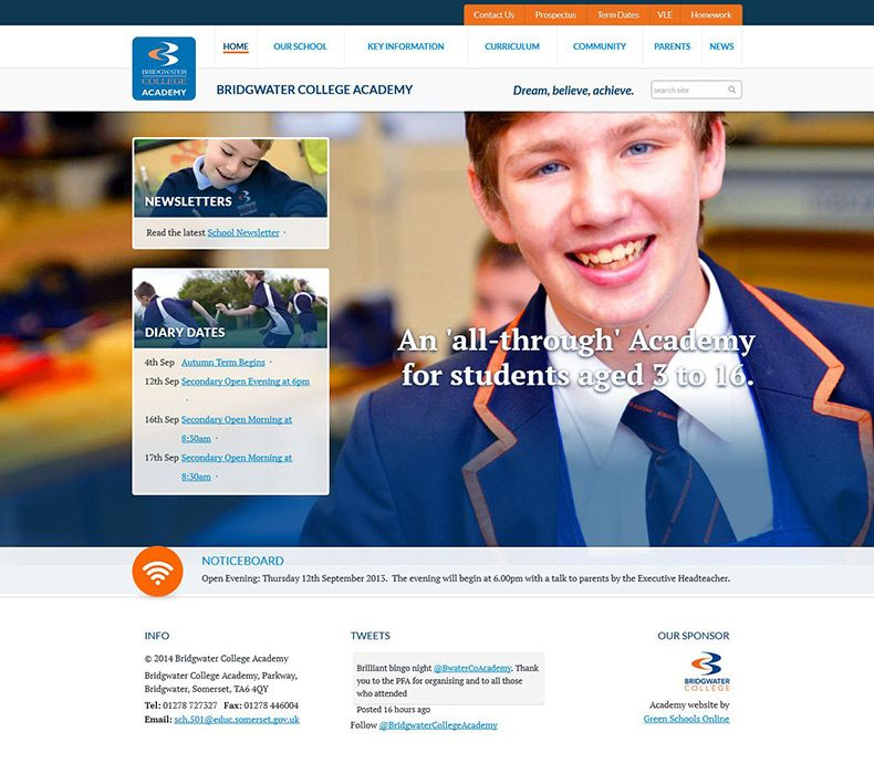 Click To View School Website Design For Bridgwater College