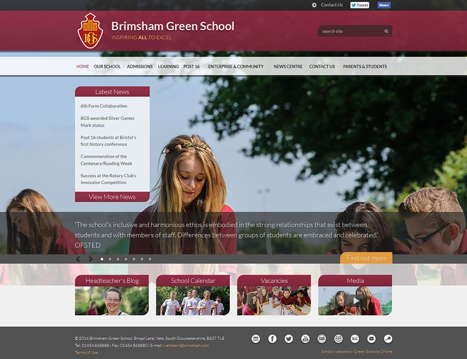 Enlarge Brimsham Green School website design