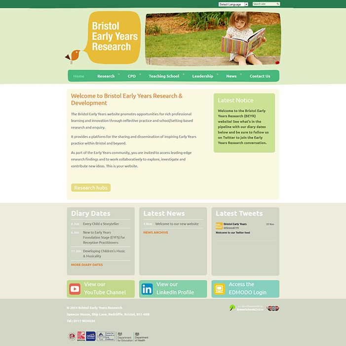 Enlarge Bristol Early Years Research website design