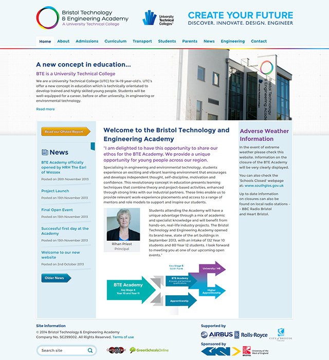 Enlarge Bristol Technology & Engineering Academy website design