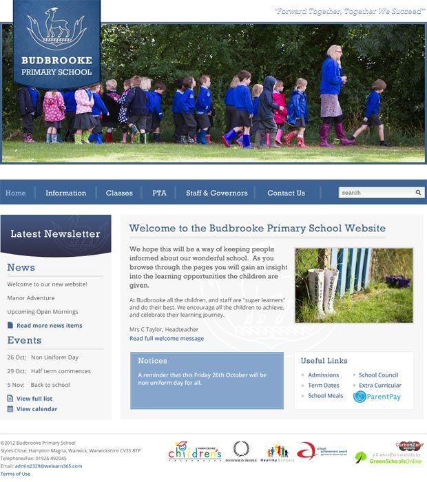 Enlarge Budbrooke Primary School website design