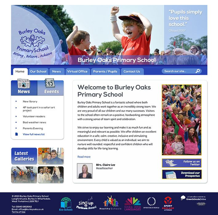 Enlarge Burley Oaks Primary School website design