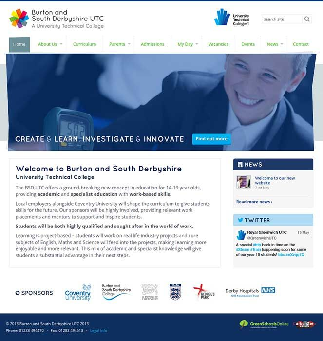 Enlarge Burton and South Derbyshire UTC website design