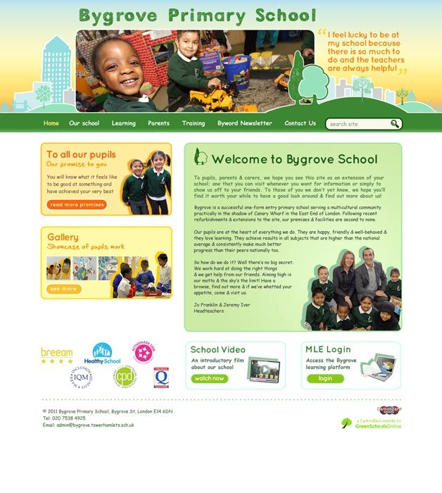 Enlarge Bygrove Primary School website design