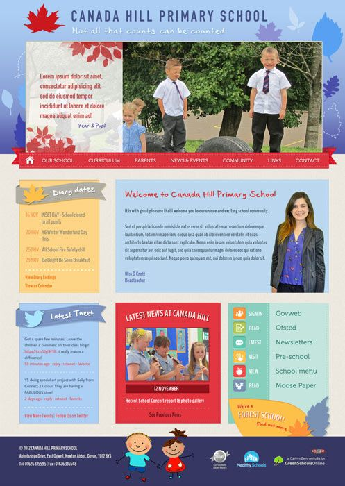 Enlarge Canada Hill Primary School website design