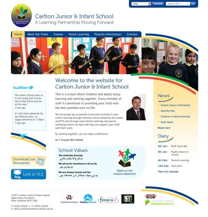 Enlarge Carlton Junior & Infant School website design