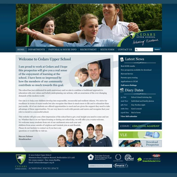 Enlarge Cedars Upper School website design
