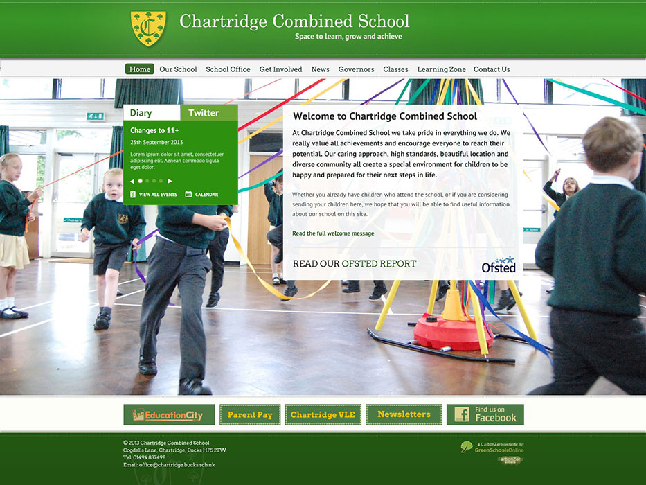 Enlarge Chartridge Combined School website design