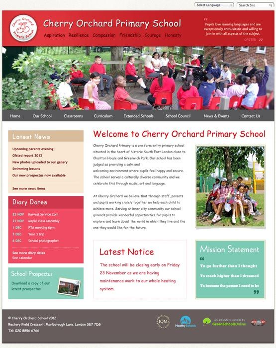Enlarge Cherry Orchard website design