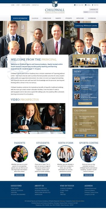 Enlarge Childwall Sports and Science Academy website design