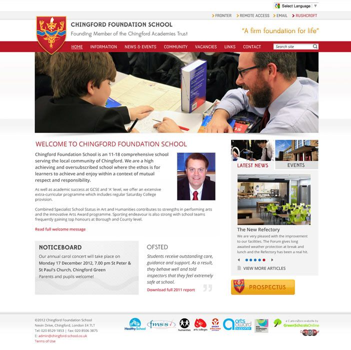 Enlarge Chingford Foundation School website design